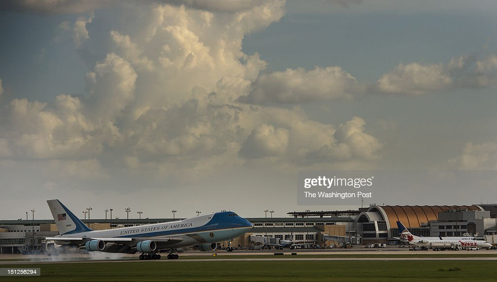 SEPTEMBER 3 -- Air Force One lands at Louis Armstrong New Orleans International Airport where President Barack Obama made the trip to look over the damage caused by Hurricane Isaac, on Monday, September 3, 2012.