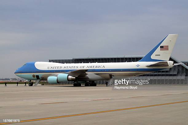 Air Force One sits on the tarmac at O'Hare International Airport in Chicago Illinois on OCTOBER 25 2012