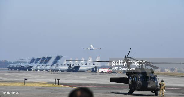 Air Force One takes off with US President Donald Trump and First Lady Melania from US Yokota Air Base in Tokyo on November 7 2017 Trump's marathon...