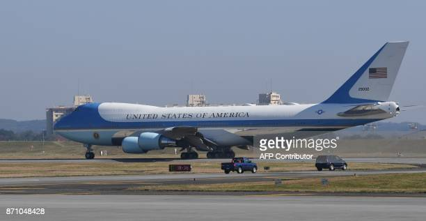 Air Force One taxis for take off with US President Donald Trump and First Lady Melania from US Yokota Air Base in Tokyo on November 7 2017 Trump's...