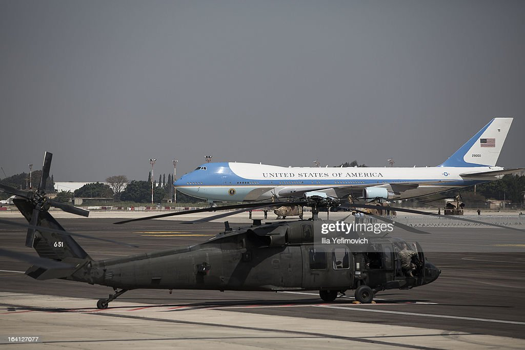 Air Force One taxis to an official welcoming ceremony for US President Barack Obama on his arrival at Ben Gurion Airport to be greeted by Israeli President Shimon Peres on March 20, 2013 near Tel Aviv, Israel. This is Obama's first visit as President to the region, and his itinerary will include meetings with the Palestinian and Israeli leaders as well as a visit to the Church of the Nativity in Bethlehem.