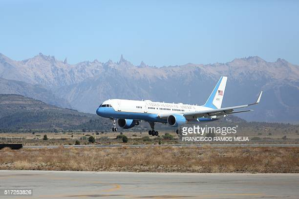 US Air Force One transporting US President Barack Obama and his family land in San Carlos de Bariloche Argentina on March 24 2016 President Barack...