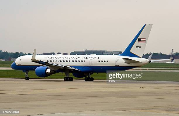 Air Force One with United States President Barack Obama aboard taxis for takeoff on July 2 2015 at Joint Base Andrews in Maryland The designation...