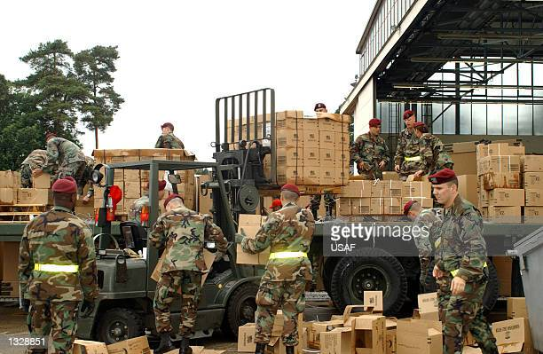 S Air Force personnel prepare humanitarian daily rations October 7 2001 at Ramstein Air Base Germany These rations are being delivered to Afghanistan...