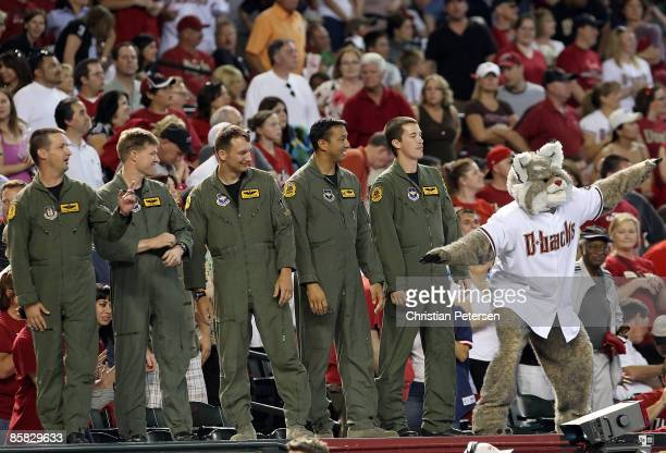 Air Force pilots are honored during the MLB openning day game between the Colorado Rockies andthe Arizona Diamondbacks at Chase Field on April 6 2009...
