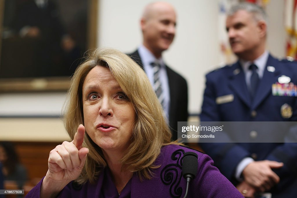 S Air Force Secretary Deborah Lee James prepares to testify before the House Armed Services Committee during a hearing about the Air Force's FY2015...