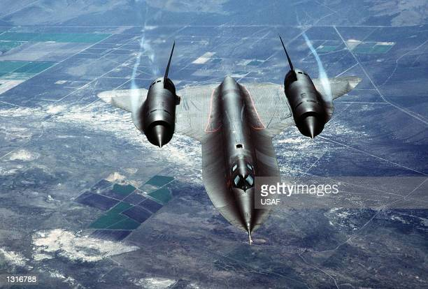 A US Air Force SR71A also known as the 'Blackbird' is put through it''s paces during a test flight over Beale Air Force Base in California The...