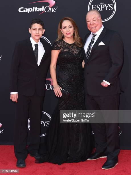S Air Force Technical Sgt Israel Del Toro wife Carmen Del Toro and son Israel Jr Del Toro arrive at the 2017 ESPYS at Microsoft Theater on July 12...