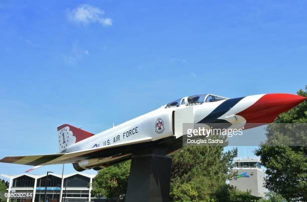 US Air Force Thunderbird's painted McDonnell-Douglas F-4 Phantom fighter jet on display