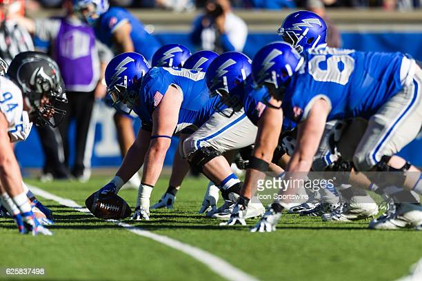 Air Force's offensive line sets up during the Air Force Falcons 2720 upset of ranked the Boise State Broncos at Falcon Stadium in Colorado Springs CO