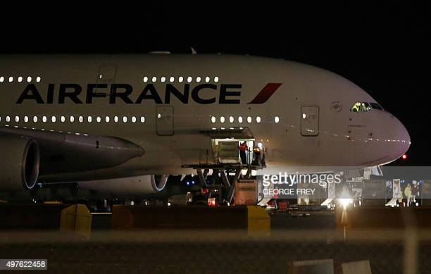 Air France Airbus 380 Flight 65 sits on the runway at the Salt Lake City International Airport being inspected by the FBI on November 17 2015 in Salt...