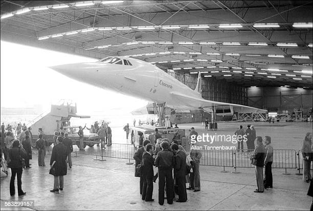 Air France / British Airways Concorde being moved to hangar after landing at JFK Airport on its first supersonic transatlantic flight New York New...
