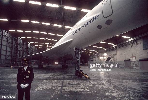 Air France / British Airways Concorde in hangar after landing at JFK Airport after first supersonic transatlantic flight New York New York October 19...