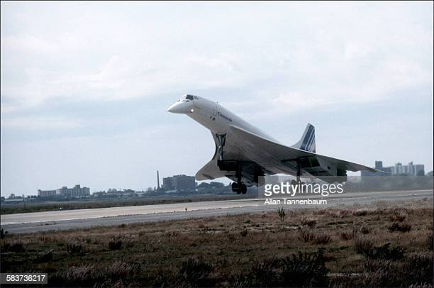 Air France / British Airways Concorde landing at JFK Airport after first supersonic transatlantic flight New York New York October 19 1977