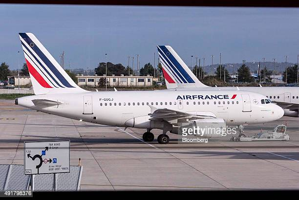 Air France passenger aircraft operated by Air FranceKLM Group sit on the tarmac at Charles De Gaulle airport operated by Aeroports de Paris in Roissy...