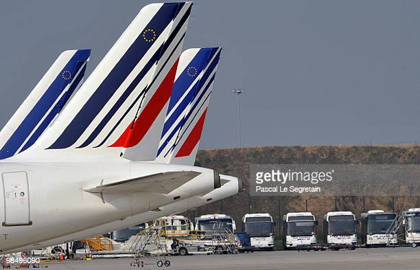 Air France planes and coaches are seen on the tarmac of the CharlesdeGaulle airport in Roissy on April 16 2010 in Paris France Charlesde Gaulle...