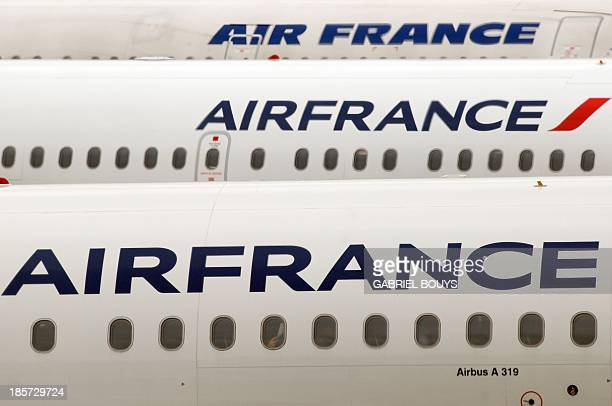 Air France planes are parked on the tarmac of Roissy CharlesdeGaulle airport outside Paris on October 10 2013 AFP PHOTO / GABRIEL BOUYS