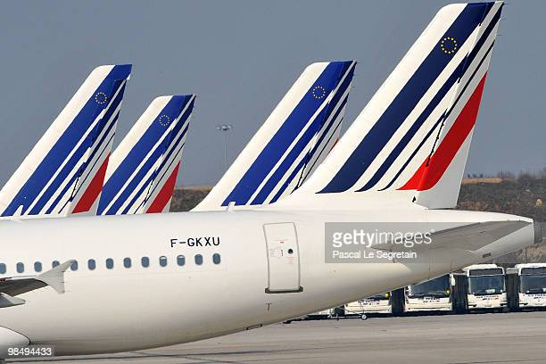 Air France planes are seen on the tarmac of the CharlesdeGaulle airport in Roissy on April 16 2010 in Paris France Roissy Charlesde Gaulle airport...