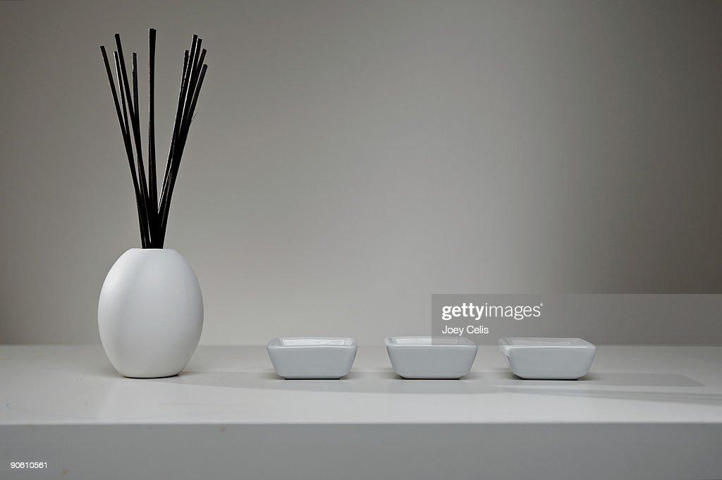 Air Freshener & Trio of Dishes : Stock Photo