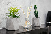 Air fresher and house plants in pots on the stone black tale closeup