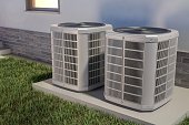two heat pumps next to the house