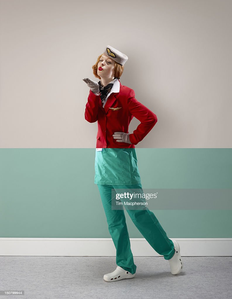 Air hostess top, surgeon bottom : Stock Photo