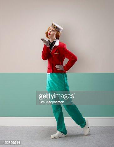 Air hostess top, surgeon bottom : Foto de stock