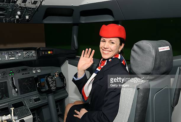 Air hostess Ulli in Europe's largest airplane set at the the Bavaria Film Studios on March 11 2009 in Gruenwald near Munich Germany