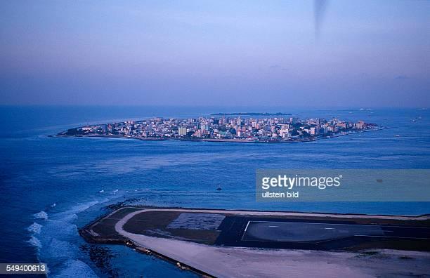 air image Hulule and Male Maldives Island Indian Ocean Ari Atol