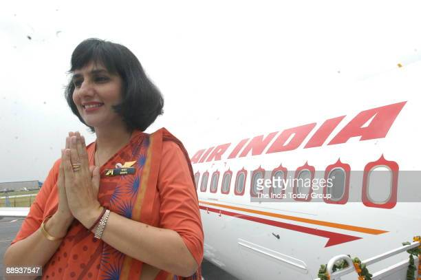 Air India air hostess in their new uniform atop the Air India flight during the delivery of the Boeing 737800 VTAXH to its own fleet at Indira Gandhi...