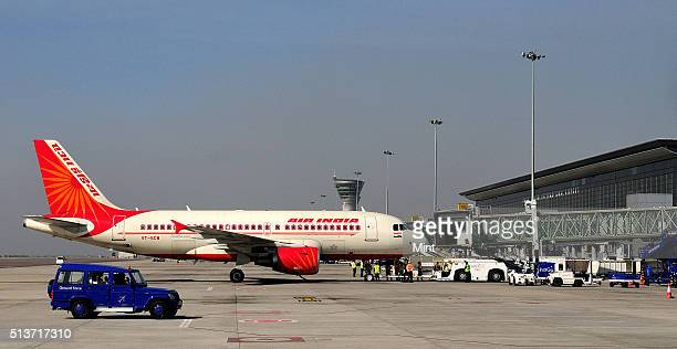 Air India aircraft at Hyderabad Airport on December 19 2012 in Hyderabad India