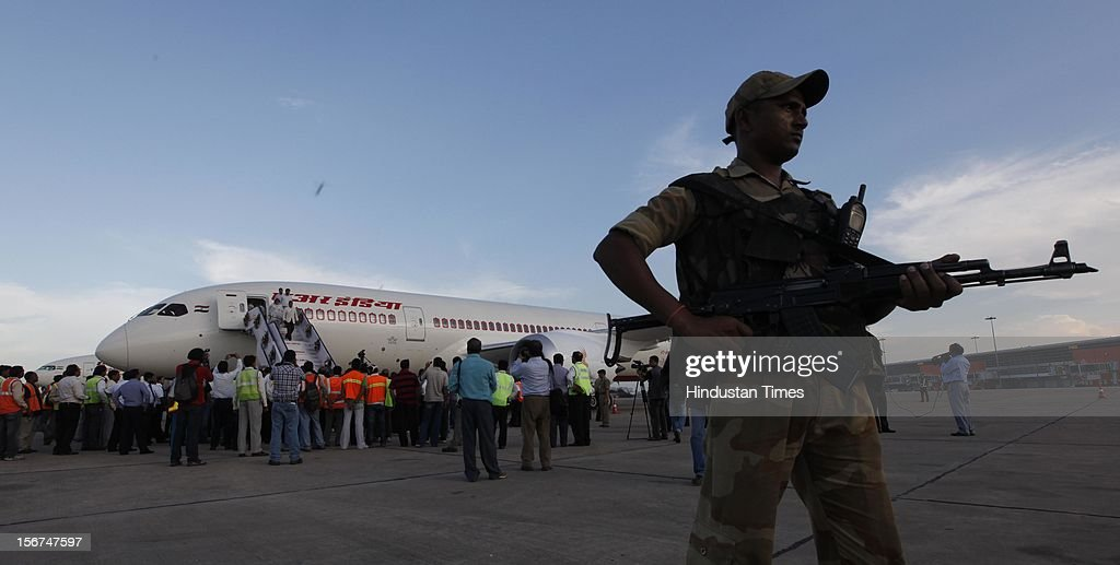 'NEW DELHI, INDIA - SEPTEMBER 8: Air India Crew members welcoming all new advanced Boeing 787 Dreamliner Aircraft on its arrival at the T-3 terminal to be inducted into the fleet of the Air India on September 8, 2012 in New Delhi, India. (Photo by Raj k Raj/Hindustan Times via Getty Images)'