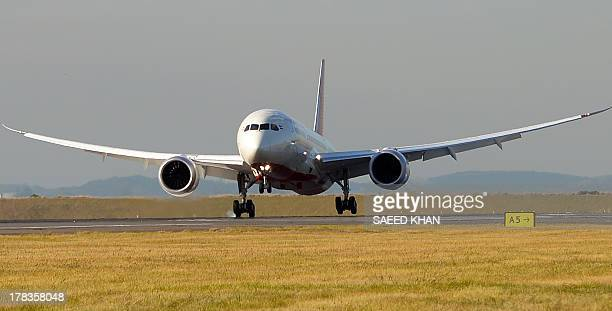 Air India's Dreamliner touches down at Sydney airport on August 30 2013 Australia's first ever Dreamliner passenger flight touched down in Sydney as...