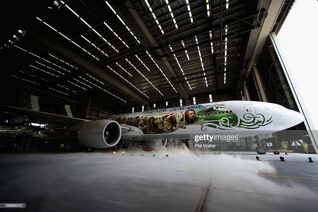 Air New Zealand unveils a 777-300 aircraft with imagery from The Hobbit ahead of the 'The Hobbit: An Unexpected Journey' world premiere at Auckland International Airport on November 24, 2012 in Auckland, New Zealand.The imagery depicts characters from the upcoming film and extends the full 73 metre length of the aircraft.