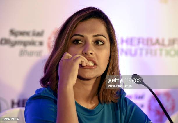 Air pistol shooter Heena Sidhu during the felicitation of Indian athletes returning from World Winter Games 2017 on March 27 2017 in New Delhi India...