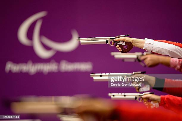Air pistols during the Men's P110m Air Pistol SH1 Finals on day 1 of the London 2012 Paralympic Games at The Royal Artillery Barracks on August 30...