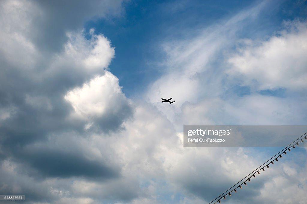 Air plane and Clondy sky Bern Switzerland