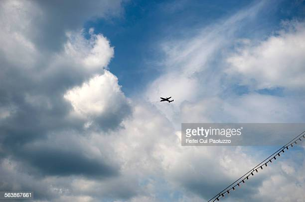 Air plane and Clondy sky Bern Switzerland