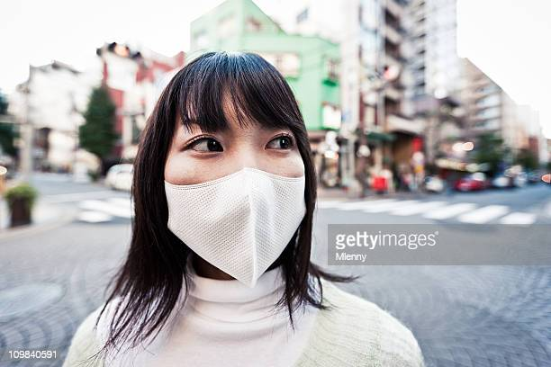 Air Pollution Facial Mask Urban Woman Portrait