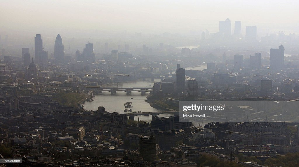 Air pollution hangs over the heart of London in this view along the River Thames towards the city on April 20, 2007 in London, England.
