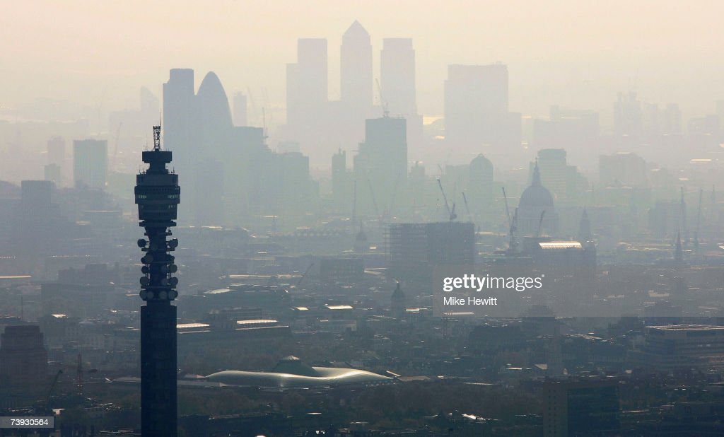 Air pollution hangs over the heart of London in this view of the BT Tower looking towards the city on April 20, 2007 in London, England.