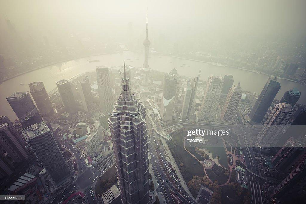 Air pollution in Shanghai, China : Stock Photo