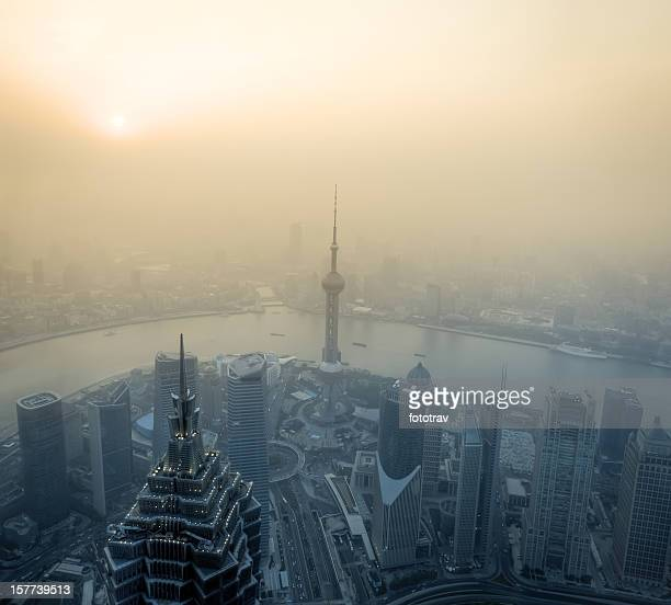 Air pollution in Shanghai, China with river