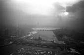 Air pollution over Charles River Basin aerial view downtown Boston Massachusetts 1969