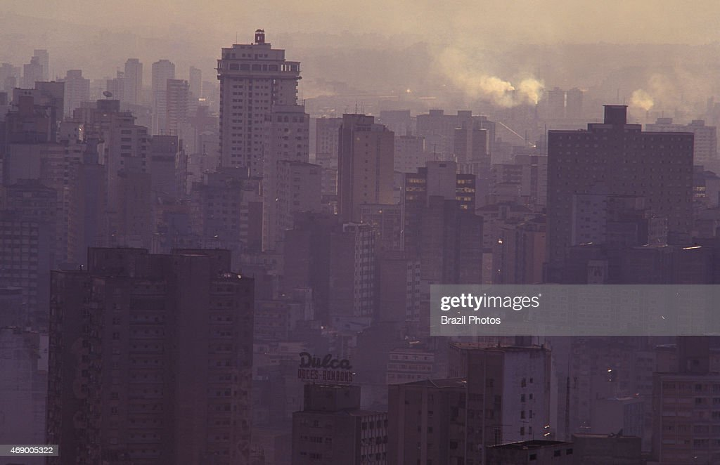 Air pollution smoke and reinforced concrete in São Paulo Brazil