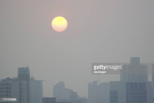 Air Pollution Sunset Over Beijing China