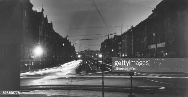 Air Raid Precautions of the Reichsluftschutzbund in Berlin the blackout View of the scarcely illuminated Tauntzienstraße Weltbild Vintage property of...