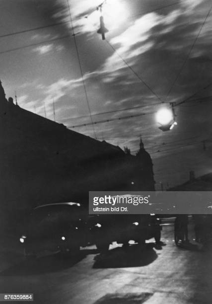 Air Raid Precautions of the Reichsluftschutzbund in Berlin the blackout View of a scarcely illuminated street in Berlin at night Photographer...