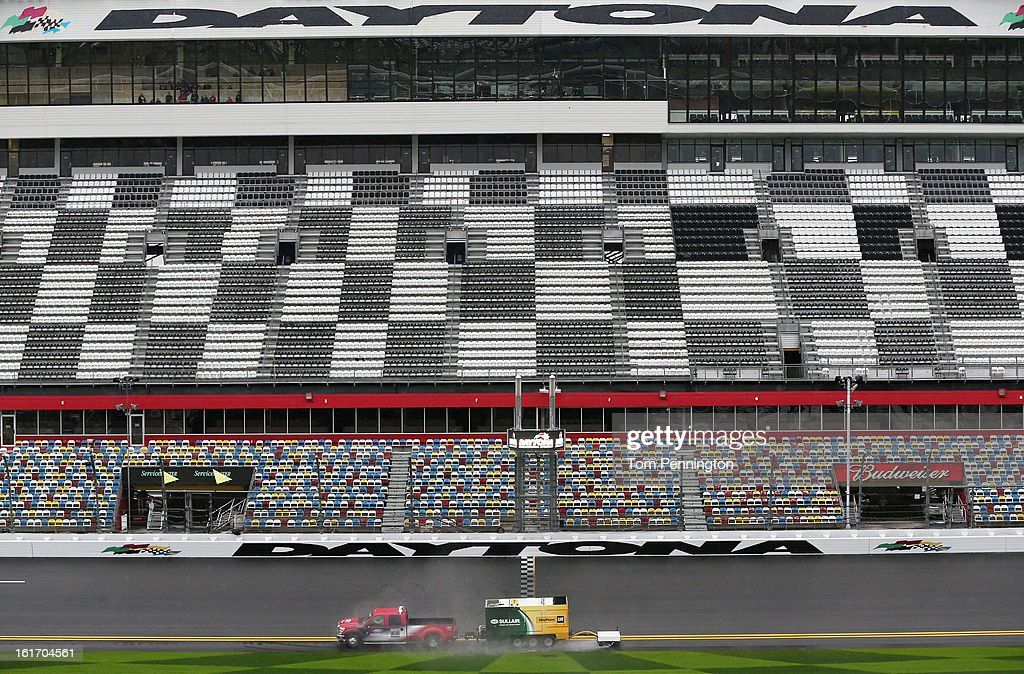 Air Titan is used to dry the track during the 2013 NASCAR media day at Daytona International Speedway on February 14, 2013 in Daytona Beach, Florida.