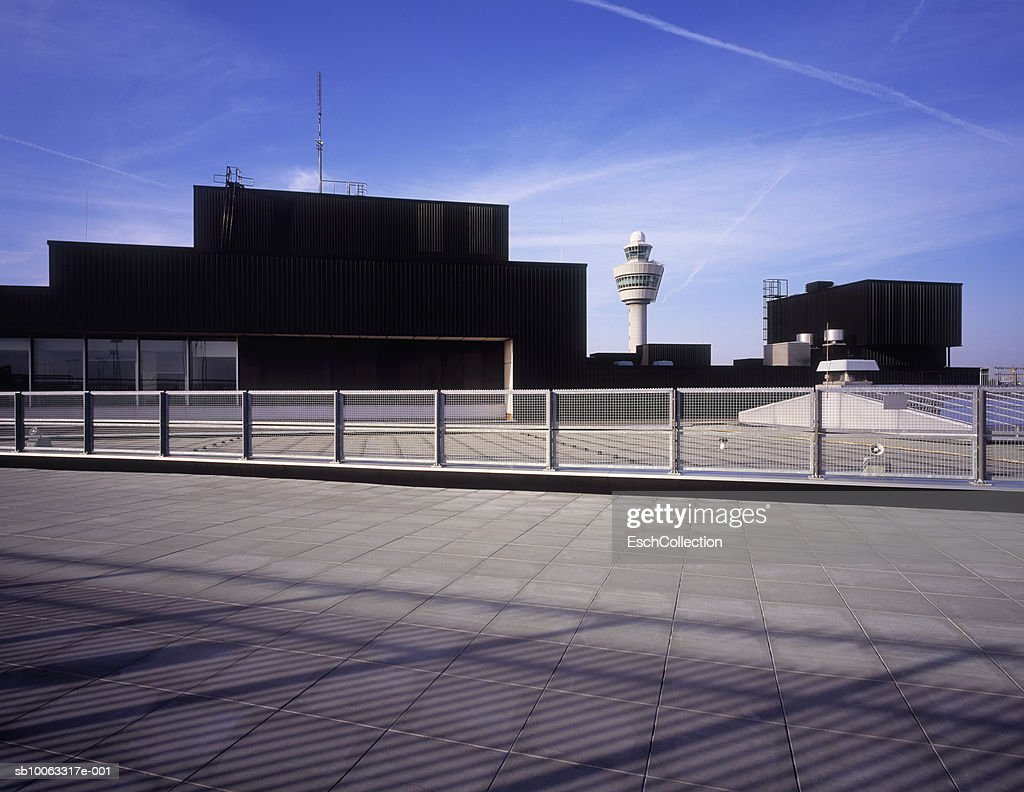Air traffic control tower at Schiphol airport : Stock Photo